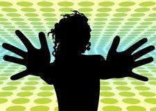 Het meisje van de disco met brede vingersvector stock illustratie