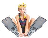 Het meisje van de duiker royalty-vrije stock foto's