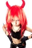 Het meisje van de duivel. Carnaval van duivels kostuum. Royalty-vrije Stock Foto