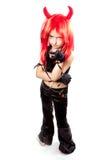 Het meisje van de duivel. Carnaval van duivels kostuum. Stock Foto