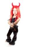 Het meisje van de duivel. Carnaval van duivels kostuum. Stock Afbeeldingen