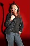 Het meisje van de duivel met ogenglases Stock Fotografie