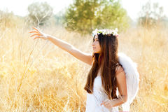 Het meisje van de engel op gouden gebied met witte vleugels Royalty-vrije Stock Afbeelding