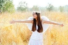 Het meisje van de engel op gouden gebied met witte vleugels Stock Foto