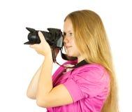 Het meisje van de fotograaf met camera royalty-vrije stock fotografie
