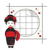 Het meisje van de geisha met ventilator Stock Foto