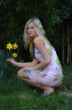 Het Meisje van de gele narcis Royalty-vrije Stock Afbeelding