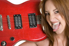 Het Meisje van de gitaar stock afbeeldingen