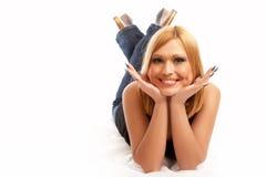 Het meisje van de glamour het stellen Stock Afbeelding