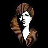 Het meisje van de glamour met zwarte achtergrond stock illustratie