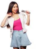 het meisje van de glamourzanger Stock Foto