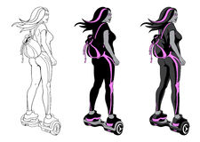 Het meisje van de gyroscoopautoped Stock Afbeeldingen