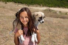 Het meisje van de herder met hond Stock Foto