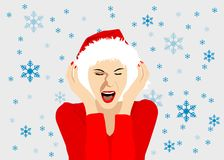 Het Meisje van de Hoed van Kerstmis Royalty-vrije Stock Fotografie
