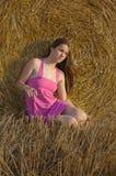 Het meisje van de hooimijt Royalty-vrije Stock Foto