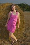 Het meisje van de hooimijt Royalty-vrije Stock Fotografie
