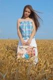 Het meisje van de hooimijt Royalty-vrije Stock Afbeeldingen