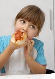 Het Meisje van de hotdog. stock foto's
