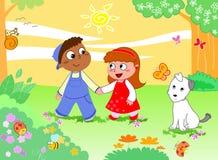 Het meisje van de jongen en grappige dieren Stock Afbeelding