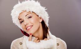 Het meisje van de kerstman stock fotografie