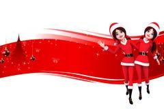 Het meisje van de kerstman danst op rode achtergrond Royalty-vrije Stock Afbeelding