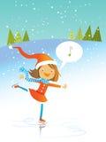 Het meisje van de kerstman het schaatsen stock illustratie