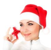 Het meisje van de kerstman met giftdoos Royalty-vrije Stock Foto's