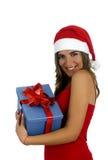 Het Meisje van de kerstman met giften stock afbeeldingen