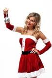 Het meisje van de kerstman met kleine discobal Royalty-vrije Stock Foto's