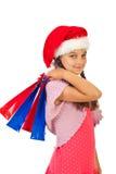 Het meisje van de Kerstman van de schoonheid met stelt voor royalty-vrije stock afbeelding
