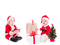 Het meisje van de kerstmanbaby Royalty-vrije Stock Afbeelding