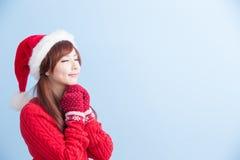 Het meisje van de Kerstmisschoonheid maakt wens royalty-vrije stock foto