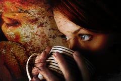 Het meisje van de koffie stock foto