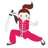 Het meisje van de kungfu met zwaard Stock Foto's