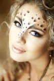Het meisje van de luxe, zoals een luipaard stock afbeelding