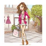 Het meisje van de manier bij het winkelen Royalty-vrije Stock Foto
