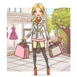 Het meisje van de manier bij het winkelen Stock Foto's