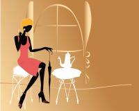 Het meisje van de manier in de koffie Stock Afbeelding