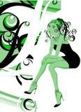 Het Meisje van de manier in een BloemenDecor Stock Afbeeldingen