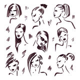Het meisje van de manier Hand getrokken portret Stock Fotografie