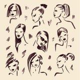 Het meisje van de manier Hand getrokken portret Stock Foto