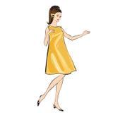 Het meisje van de manier (jaren '60stijl): Retro manierpartij stock illustratie