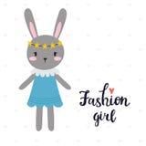Het meisje van de manier Leuk weinig konijntje Romantische kaart, groetkaart of prentbriefkaar Illustratie met mooi konijn met st Stock Foto's