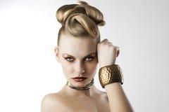 Het meisje van de manier met luipaardmake-up, Stock Afbeelding