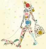 Het meisje van de manier met zak op een straat vector illustratie