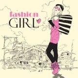 Het meisje van de manier op een stad-achtergrond. Royalty-vrije Stock Fotografie