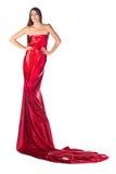Het meisje van de manier in rode kleding Stock Foto's