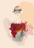 Het meisje van de manier in schets-stijl royalty-vrije illustratie