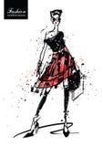 Het meisje van de manier in schets-stijl Retro affiche royalty-vrije illustratie