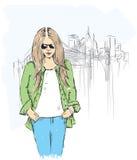 Het meisje van de manierillustratie royalty-vrije illustratie